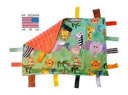Baby Jack Jungle Safari Educational Sensory Blanket Lovey wi