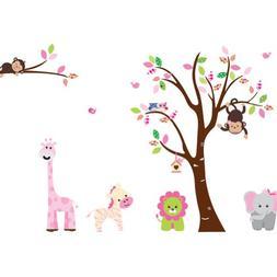 Cartoon Cute Monkeys Big Trees Removable Wall Stickers Home