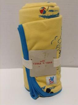 Disney Junk Food Baby Mickey Mouse Yellow & Blue Blanket 30x