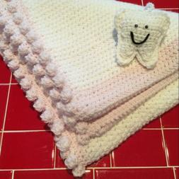 Just Finished New  Crochet Baby Blanket with Tooth Fairy Pil