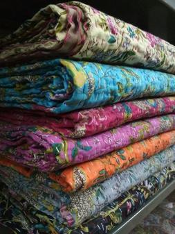 Kantha Quilt Indian Baby Reversible Throw Handmade Blanket C