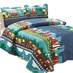 Brandream Kids Bedding Set Boys Train Vehicle Thin Comforter