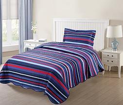 MarCielo 2 Piece Kids Bedspread Quilts Set Throw Blanket for