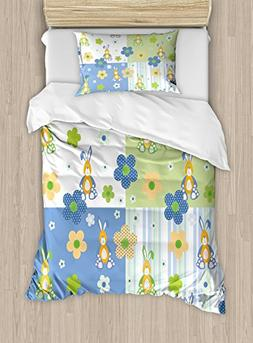 Ambesonne Kids Duvet Cover Set Twin Size, Patchwork Style Nu