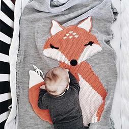Makaor Kids Fox Knitting Blanket Bedding Quilt Play Blanket