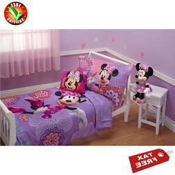 Kids Girls Toddler Bedding Set Disney 4 Piece Minnie Mouse L
