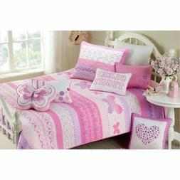 Kids Pink Butterfly Twin Size Quilt Set Girls Animal Polka D