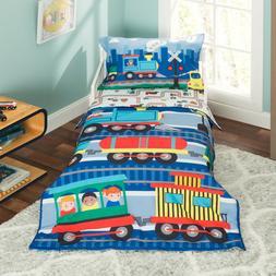 Everyday Kids 4 Piece Toddler Bedding Set -Choo Choo Train-