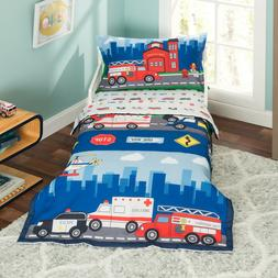 Everyday Kids 4 Piece Toddler Bedding Set -Fire and Police R