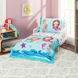 Everyday Kids 4 Piece Toddler Bedding Set -Undersea Mermaids