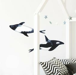 Killer Orca Whale Wall Decal Set of 2 Watercolor Wall Art St