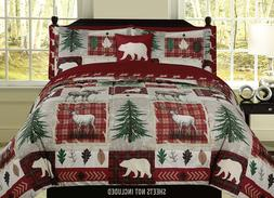 7pc Comforter Set Deer Wildlife Buck Deer /& Doe Lodge Cabin Bedding Decor