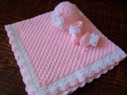 Knit/Crochet Personalized Baby Blanket, Hat and Booties
