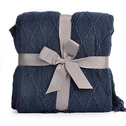 "Battilo Knit Diamond Pattern Decorative Throw Blanket, 50"" W"