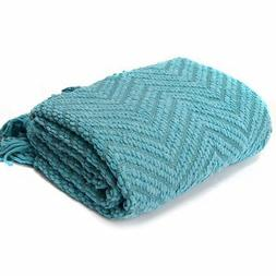 "Knit Zig-Zag Textured Woven Throw Blanket Turquoise 60"" x 50"