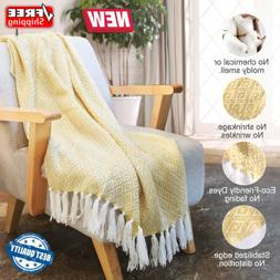 Knitted Throw Blanket W/ Tassel Wearable Soft Warm Cozy Ligh