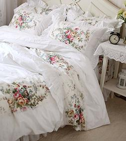 FADFAY Korean White Lace Ruffled Duvet Cover Bedding Set Cot