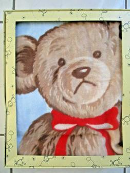 KOYO 100% PURE COTTON VELOUR BABY BLANKET MR TEDDY BEAR BLUE