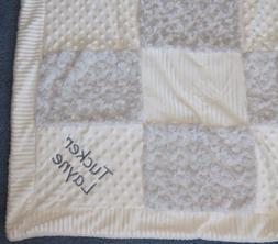 KYLE & DEENA Gray White minky patchwork baby blanket Persona