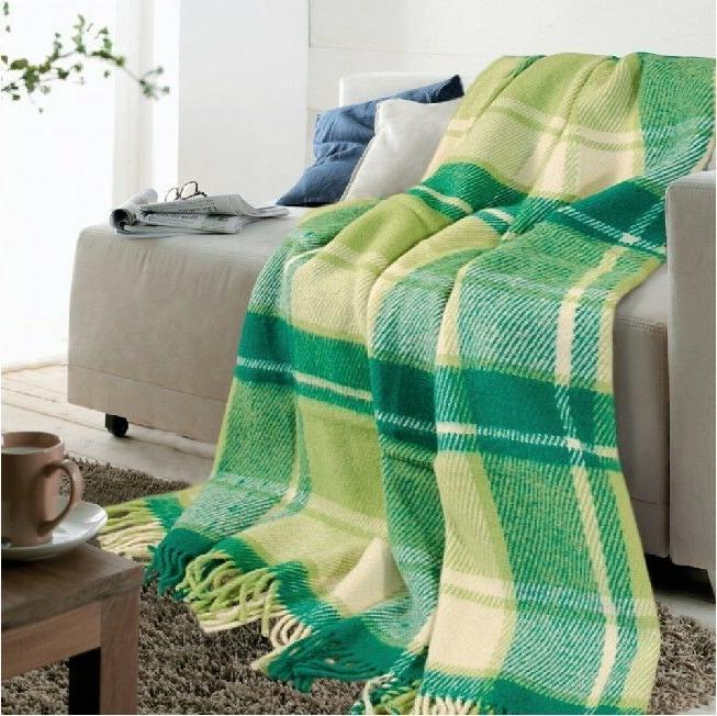 "Wool Throw Blanket fringe 55x79"" Green Tartan Plaid"
