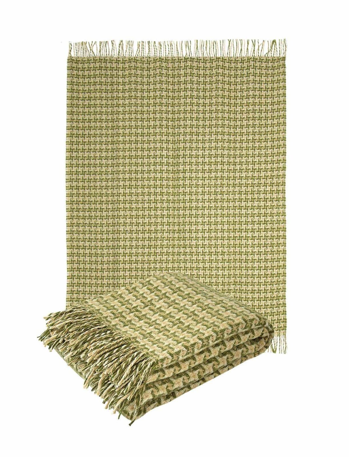 "100% New Sheep Wool Throw Blanket fringe 55x79""hounds Olive"