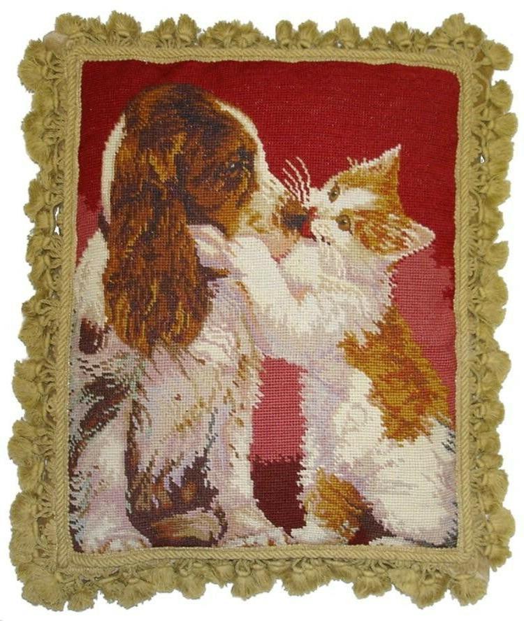 20 x 16 handmade wool needlepoint cat