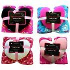 2pc Heart Pillow and Plush Throw Blanket Set Girls Kids Bedr