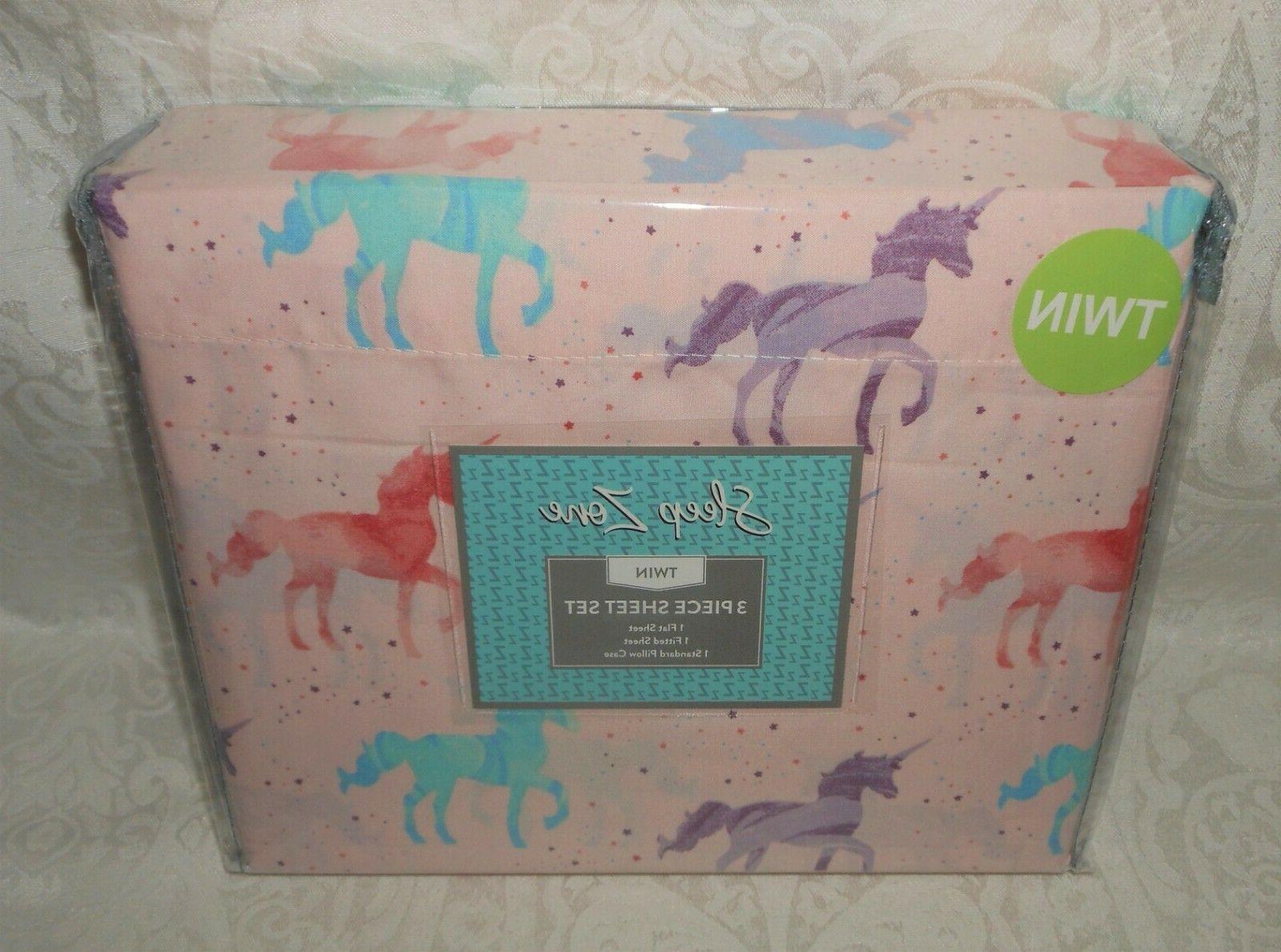 3 pc girls unicorns twin sheet set