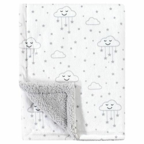 30x40 clouds stars gray white baby blanket