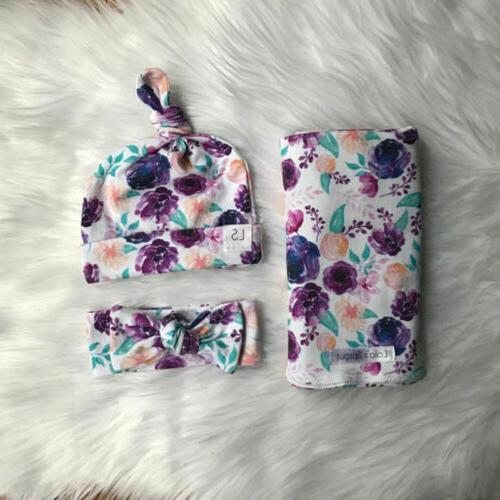 3Pcs Newborn Baby Floral Snuggle Swaddling Wrap Blanket Sleeping Bag