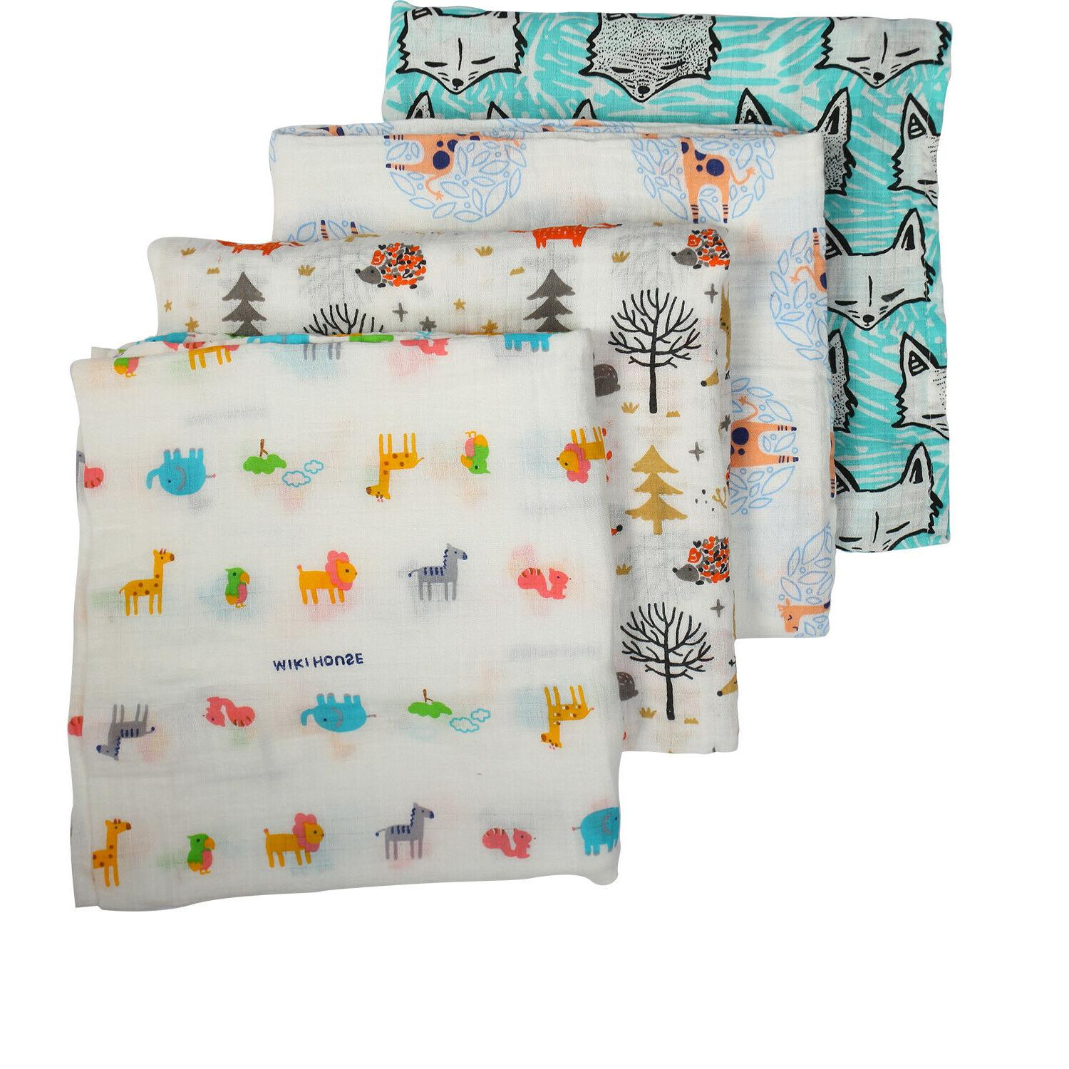 4 pk Breathable Swaddle Blankets Muslin Bamboo Cotton Baby G