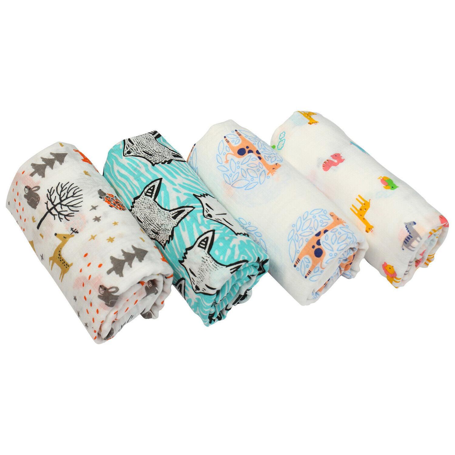 4 Blankets Muslin Bamboo Baby Boy Soft 47*47