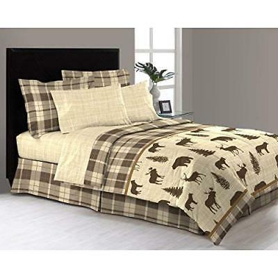 8 Piece Tan Brown Hunting Themed Comforter Queen Set Deer Be