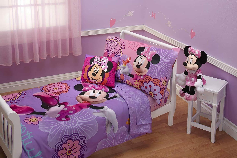 Disney 4 Piece Minnie's Fluttery Friends Toddler Bedding Set