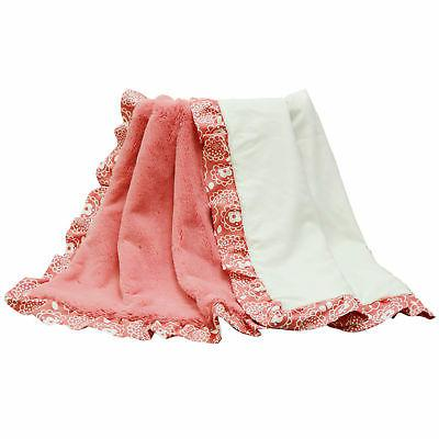 Gia Coral Pink and White with Floral Print Ruffle Reversible