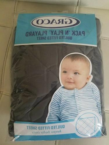 Graco Pack 'n Play Playard Quilted Sheet, Stone Gray