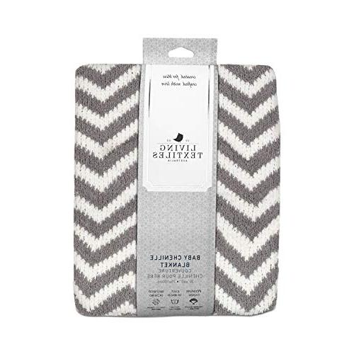 Living Textiles Chenille Blanket. Grey Throw and