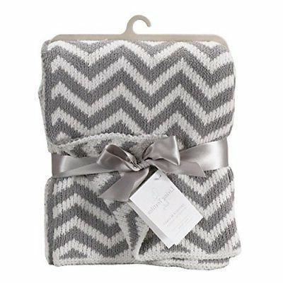 Living Textiles Chenille Baby Blanket. Grey Chevron Ultra-So