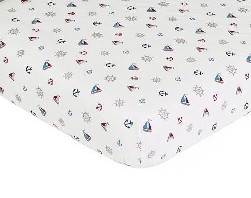 Sweet Jojo Designs Nautical Nights Fitted Crib Sheet Baby/To