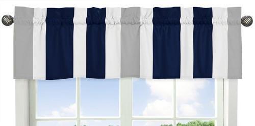 Sweet Jojo Designs Navy Blue, Gray and White Window Treatmen