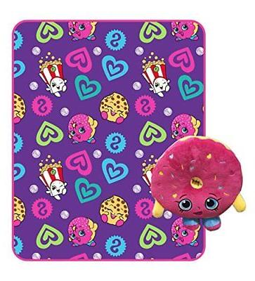 New Shopkins Fleece Throw Blanket and Plush Stuffed Toy Pill