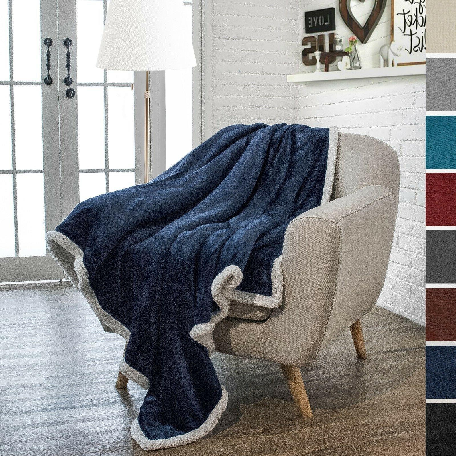 "Premium Sherpa Throw Blanket by Pavilia   50"" x 60"" Reversib"