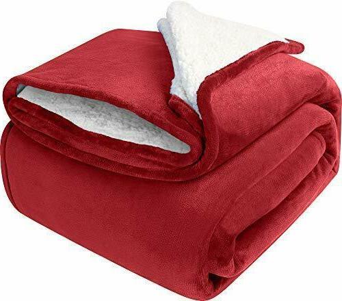 Sherpa Flannel Fleece Reversible Blanket Extra Soft Brush Fa