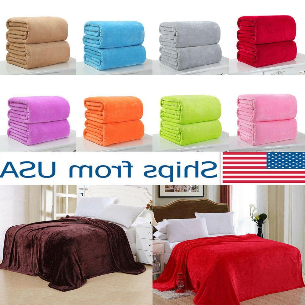 Soft Solid Warm Micro Plush Fleece Blanket Throw Rug Sofa Be