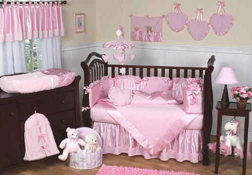 Sweet Jojo Designs 9-Piece Pink Chenille and Satin Baby Girl