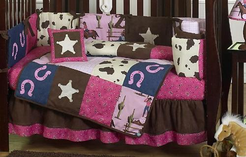 Sweet Horse Pink Brown Baby Bedding 9pc Crib