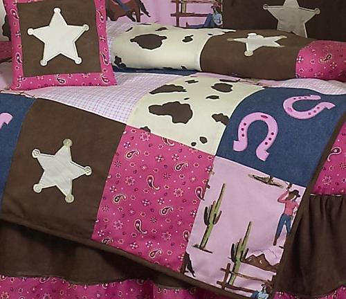 Sweet Horse Pink and Brown 9pc Crib Set