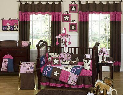 Sweet Jojo Designs Western Horse Cowgirl Pink and Brown Baby