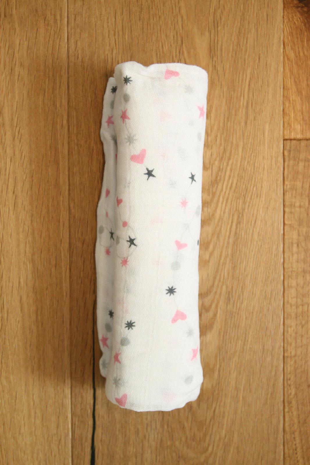 "Aden Anais Swaddle Blanket ~ White, Pink & ~ Pick x 47"""