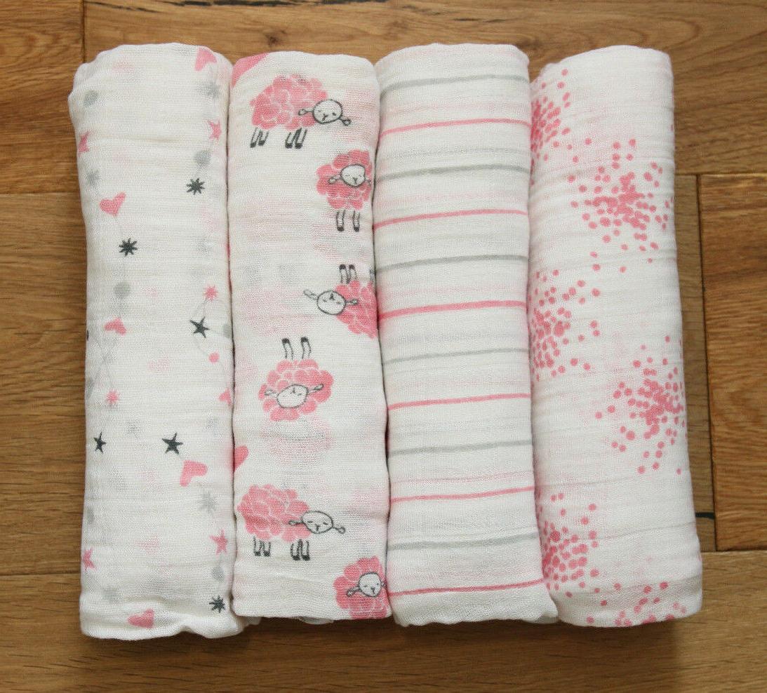 aden anais baby girl swaddle blanket white